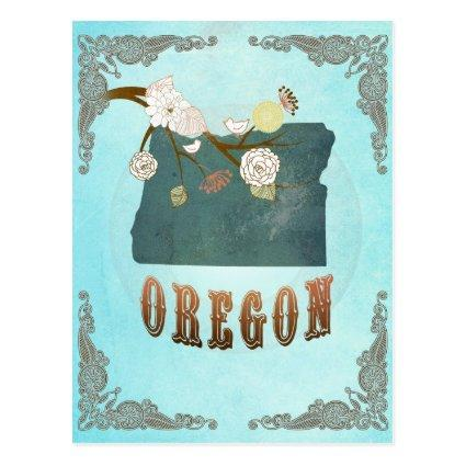 Oregon Map With Lovely Birds Cards