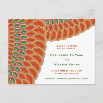 Oriental Scalloped Fan Save The Date Cards
