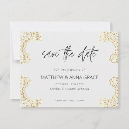 Ornate Gold Save The Date