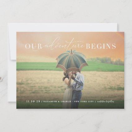 Our Adventure Begins Classic Script Stylish Photo Save The Date