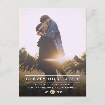 Our Adventure Begins Modern Typography Gold Photo Announcement