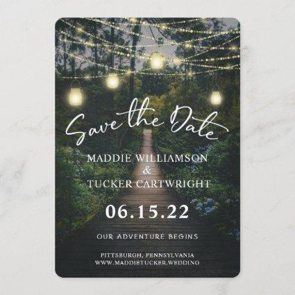 Our Adventure Begins   Rustic Forest Save the Date Invitation