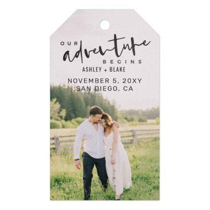 Our Adventure Begins Script Photo Save the Date Gift Tags