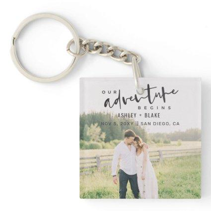 Our Adventure Begins Script Photo Save the Date Keychain