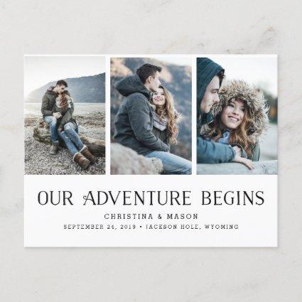 Our Adventure Begins | Three Photo Save the Date Announcements Cards