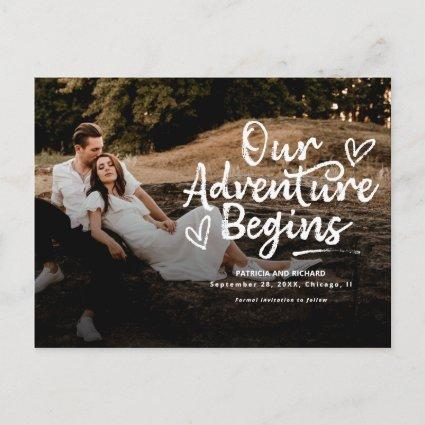 Our Adventure Begins Wedding Save The  Date Photo