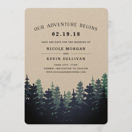 Our Adventure Begins   Winter Forest Save the Date