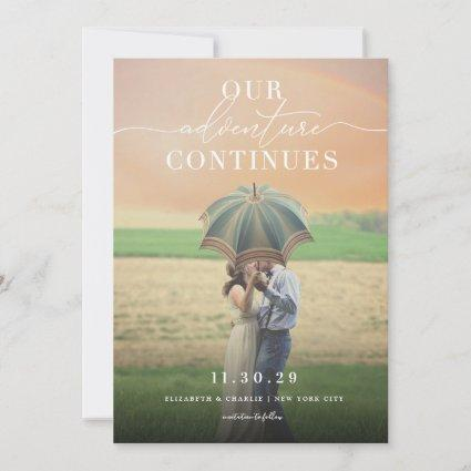 Our Adventure Continues Chic Classic Script Photo Save The Date
