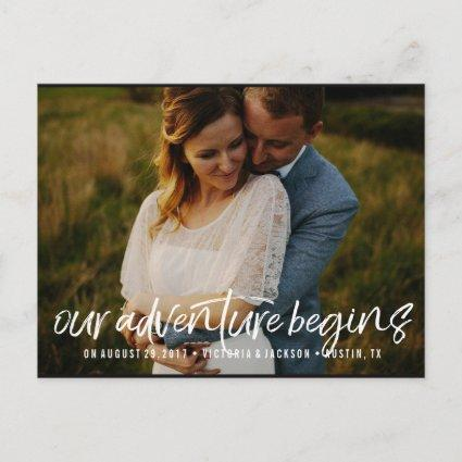 Our Adventure Save the Date Photo  WHITE Announcement