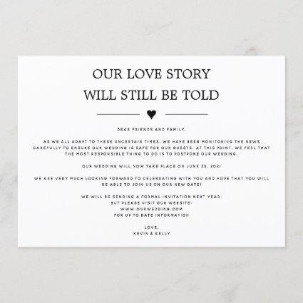 Our Love Story will Still be Told Change the Date Invitation