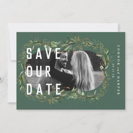 Oval Boho Bold Abstract Modern Leafy Golden Photo Save The Date