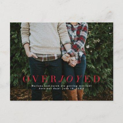 Overjoyed red save the date holiday photo