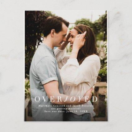 Overjoyed save the date vertical photo holiday