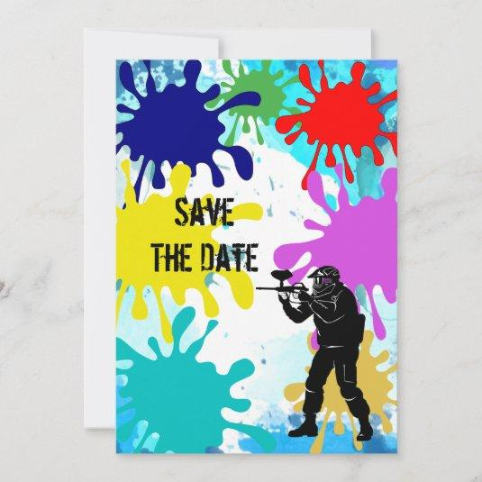 Paintball Party Save The Date