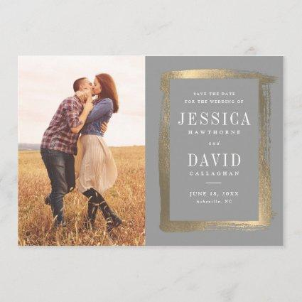 Painted Frame photo faux foil save the date