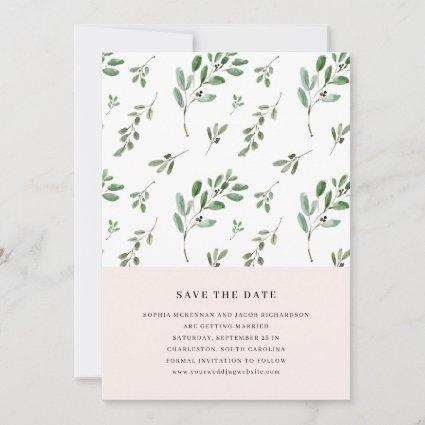 Painted Olive Branches | Simple Blush Pink Wedding Save The Date