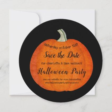 Painted Pumpkin Orange Black Halloween Party Save The Date