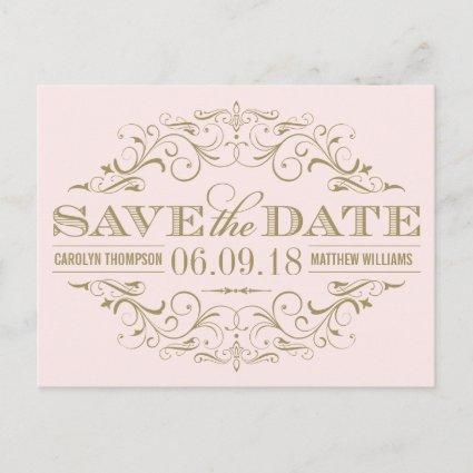 Pale Pink Gold Save the Date | Swirl and Flourish Announcement