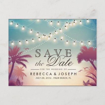 Palm Beach String Lights Wedding Save the Date Announcement