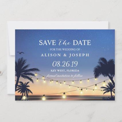 Palm Beach Sunset String Lights Save the Date