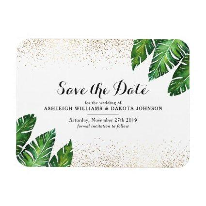 Palm Leaves & Gold Confetti on White Save The Date Magnet
