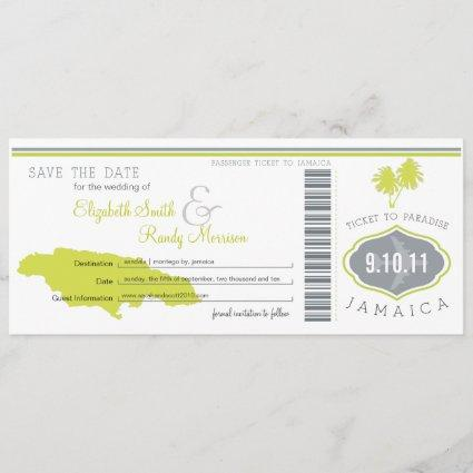 Palm Tree Save the Date Boarding Pass Jamaica