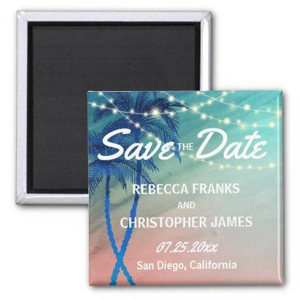 Palm Tree Save the Date Magnets | Teal Blue Peach