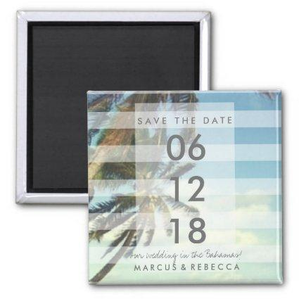Palm Trees Beach Save Date Wedding Magnets