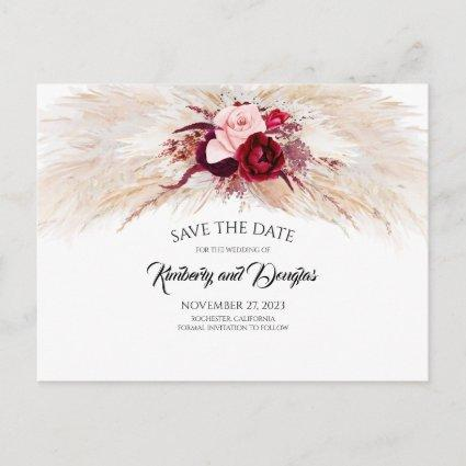 Pampas Grass Burgundy Red Floral Save the Date Announcement