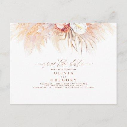 Pampas Grass Floral Terracotta Save the Date Announcement