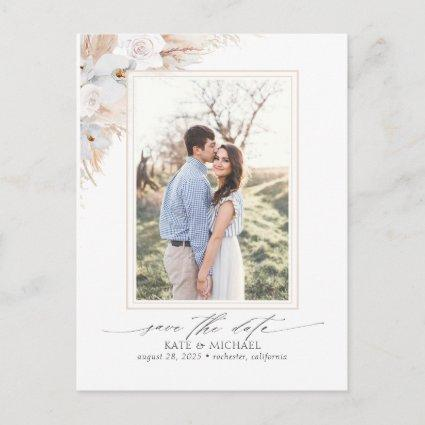 Pampas Grass Floral Tropical Save the Date Photo Announcement