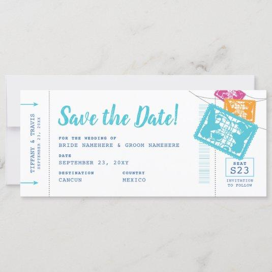 Papel Picado Boarding Pass Ticket Save the Date Announcement