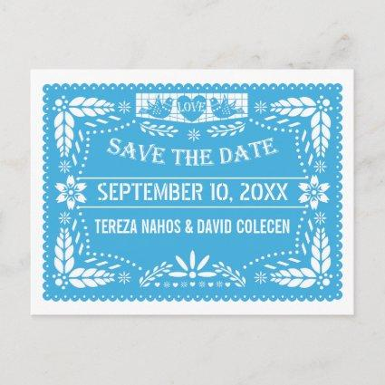Papel picado love birds blue wedding Save the Date Announcement