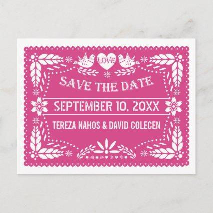 Papel picado lovebirds pink wedding Save the Date Announcement