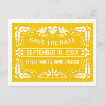 Papel picado modern yellow wedding Save the Date Announcement