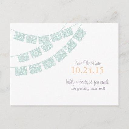 Papel Picado Save the Date Mint green Announcement