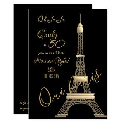Paris Birthday Invitation Black GOLD Chic