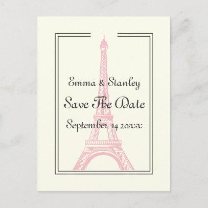 Paris wedding pink Eiffel Tower Save the Date Announcement