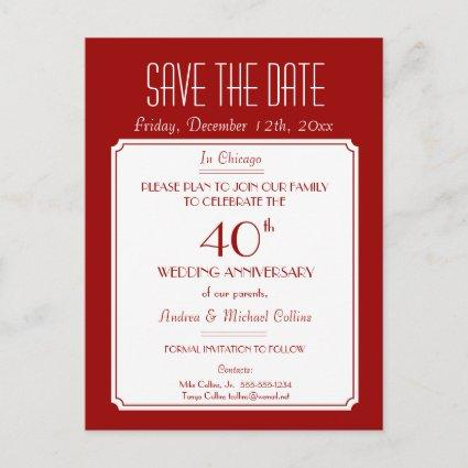 Party, Event or Reunion Save the Date in Red Announcement