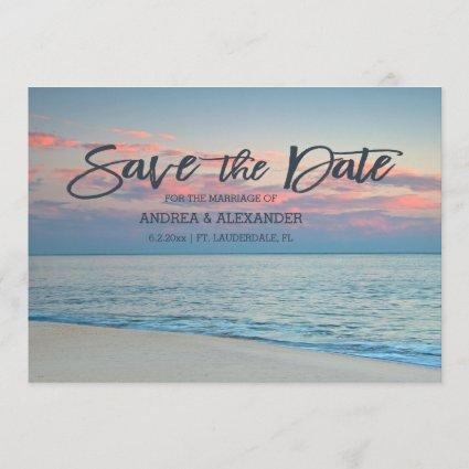 Pastel Beach Sunrise Save The Date