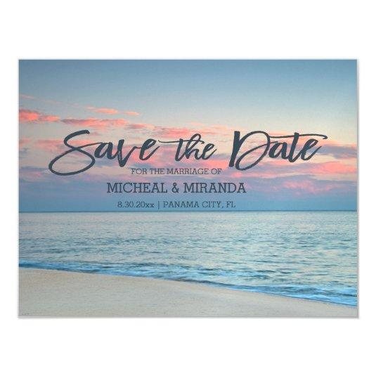 Pastel Beach Sunrise Save The Date Magnetic Card