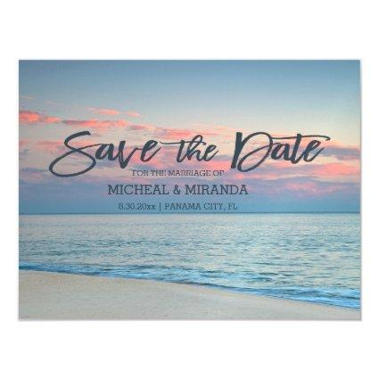 Pastel Beach Sunrise Save The Date Magnetic Invitation