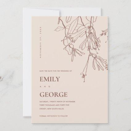 PASTEL BLUSH LINE DRAWING FLORA SAVE THE DATE CARD