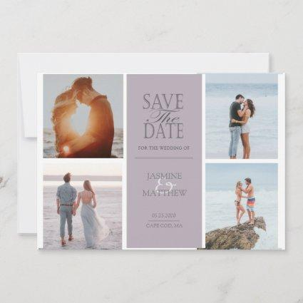 Pastel Modern Four Photo Save The Date Card