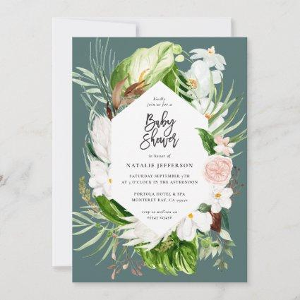 Pastel tropical+ gold geometric baby shower invite
