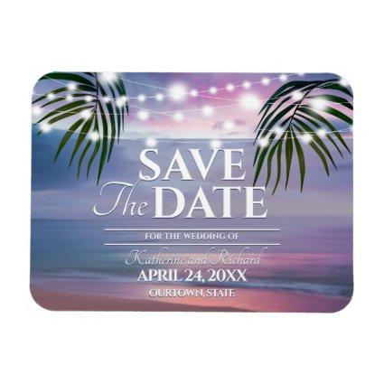 Pastel Tropical Watercolor Wedding Save the Date Magnet
