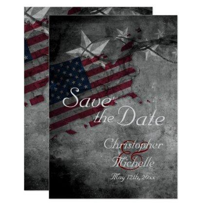 Patriotic American Flag Wedding Save the Date Invitation