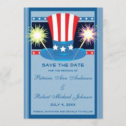 Patriotic Red White Blue Save The Date Wedding