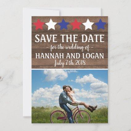 Patriotic Stars Rustic July 4th Save The Date