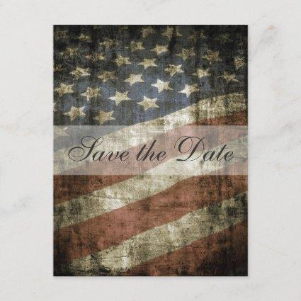 Patriotic US Flag Vintage Wedding Save the Date